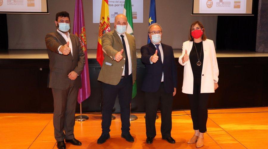 Diputación, CECO, UGT y COOO materializan con la firma de 'Juntos X Córdoba' su compromiso para trabajar por la recuperación económica y social de la provincia