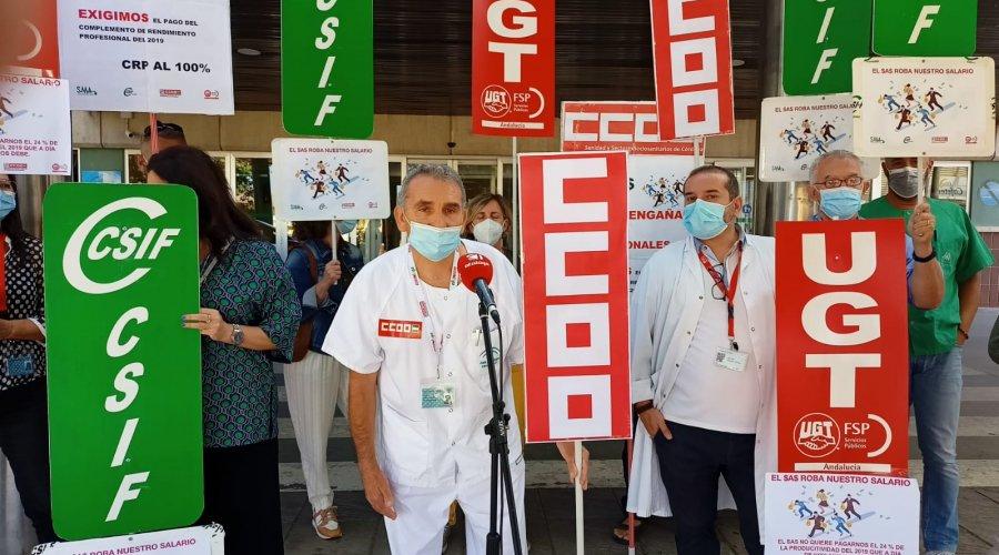 CCOO exige la intervención del presidente de la Junta de Andalucía para que se le pague el 100% del CRP al personal del SAS
